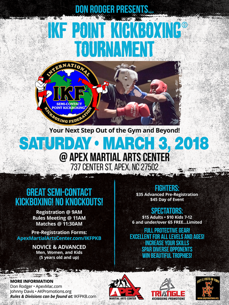 9th IKF Point Muay Thai / Kickboxing Sparring Tournament, Apex, NC @ Apex Martial Arts Center | Apex | North Carolina | United States
