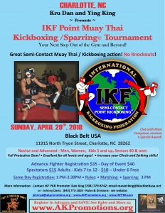 IKF Point Muay Thai / Kickboxing Sparring Tournament, SUNDAY, Charlotte, NC @ Black Belt USA and Muay Thai Academy | Charlotte | North Carolina | United States
